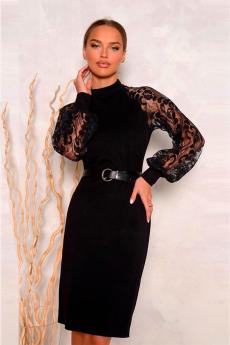 Новинка: черное платье с кружевными рукавами Open-Style